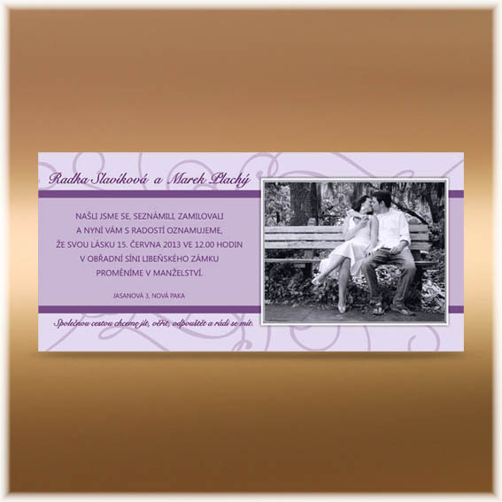 Purple Photo Wedding Invitations