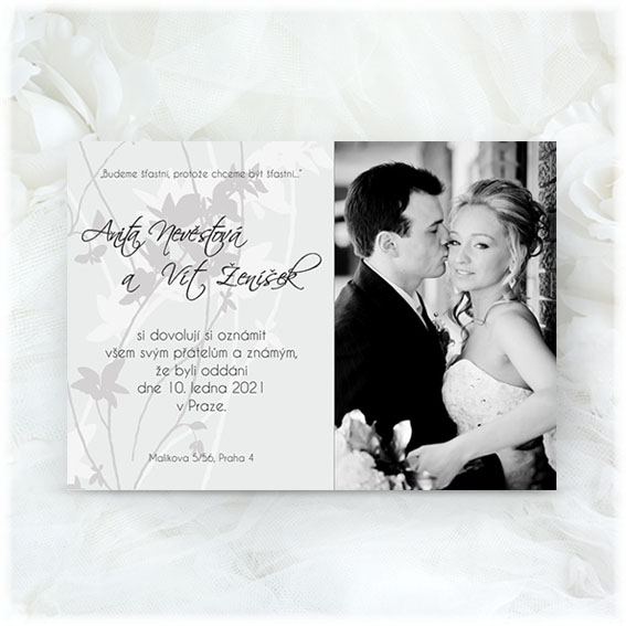 Photo Wedding Invitation black and white