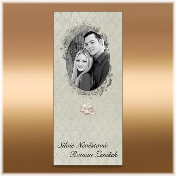 Svadobné oznámenia s fotografiou a mašlou