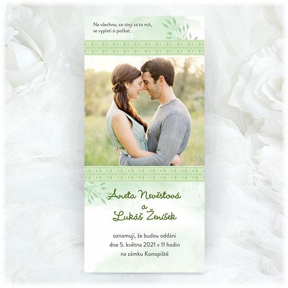 Zelené svatební oznámení s fotografiou