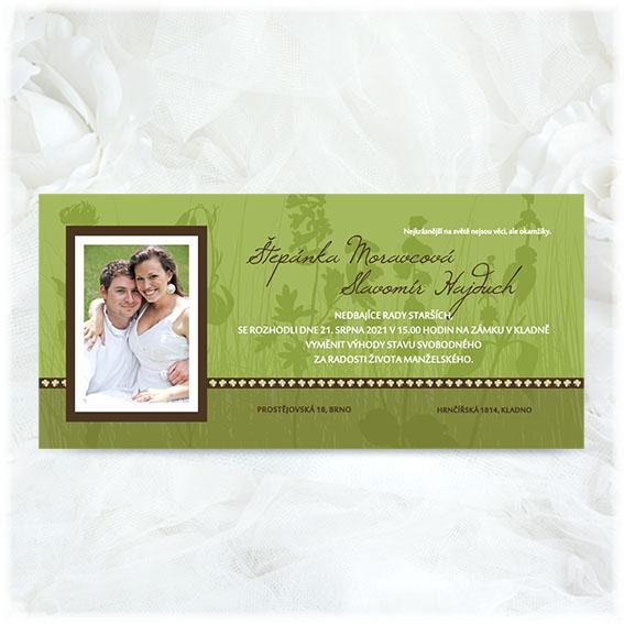 Jednoduché svadobné oznámenie s fotografiou