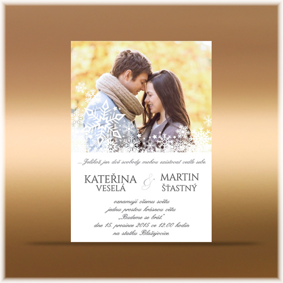 Winter Wedding Invitation with Snowflakes