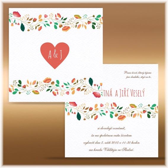 Svatební oznámení květiny oboustranné
