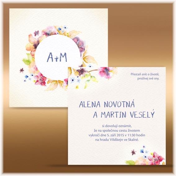 Svatební oznámení květinový kruh