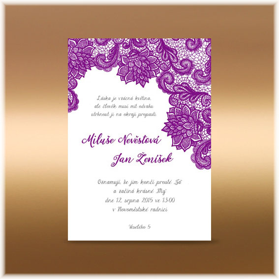 Violet Lace Wedding invitation