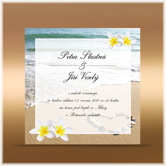 Frangipani wedding invitation
