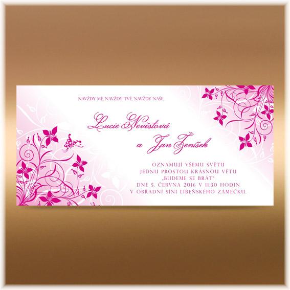 Fuchsiové růžové svatební oznámení