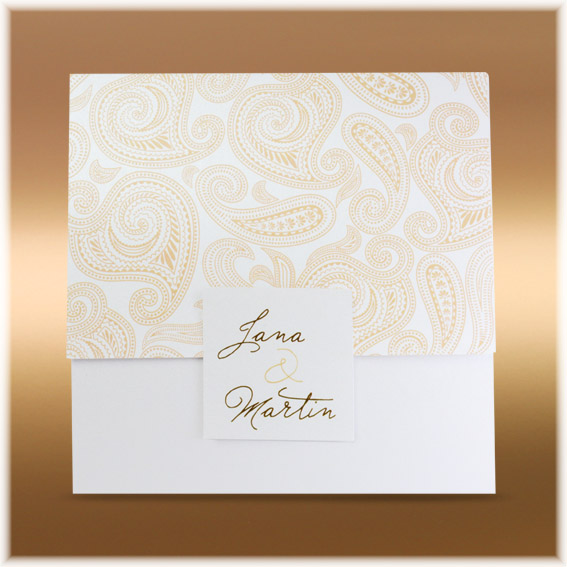 Luxury wedding invitation with paisley pattern