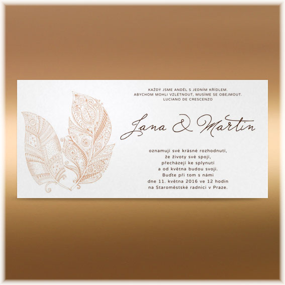 Wedding invitation with feathers