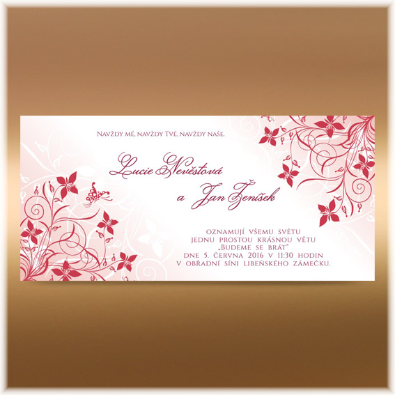 Wedding invitation with a burgundy red flowers