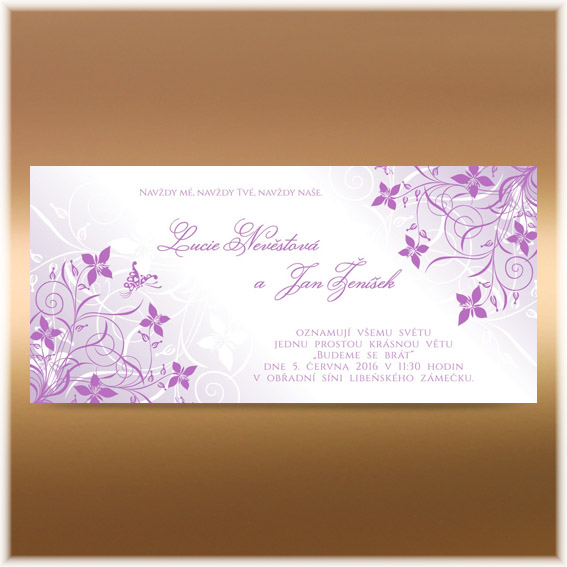 Purple Swirls Flower  Wedding invitation