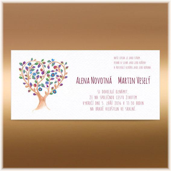 Svatební oznámení srdce strom