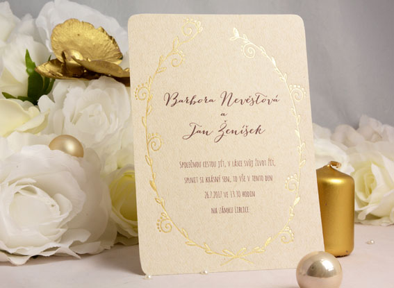 Vintage Wedding Invitation with gold embossing