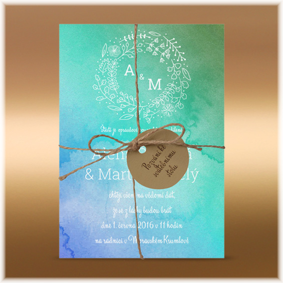 Blue green watercolour wedding invitation