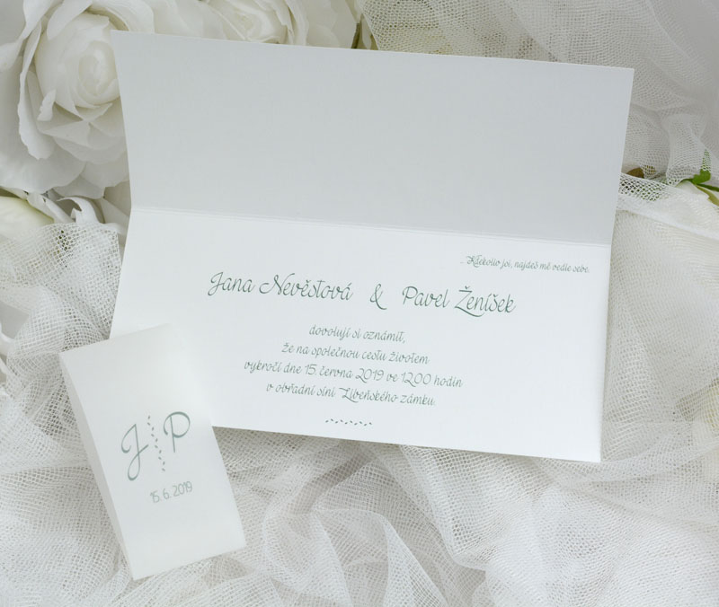 Wedding Invitation With Branches And Transparent Paper Strap